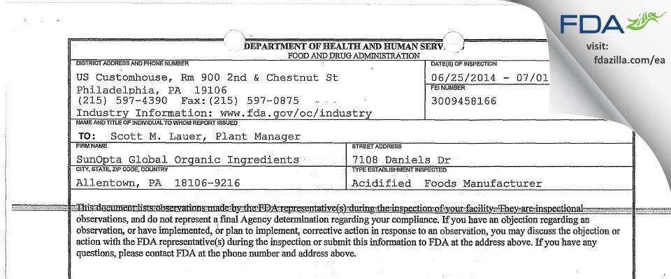 SunOpta Grains and Foods FDA inspection 483 Jun 2014