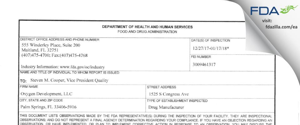 Oxygen Development FDA inspection 483 Jan 2018