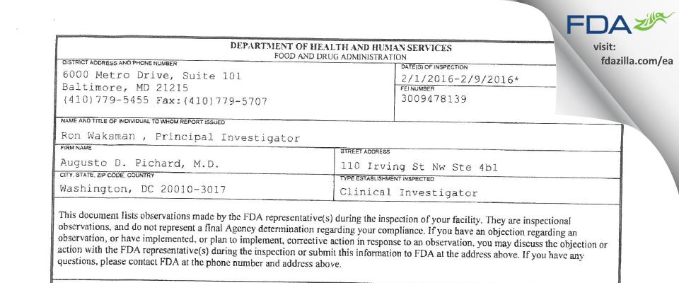 Augusto D. Pichard, M.D. FDA inspection 483 Feb 2016