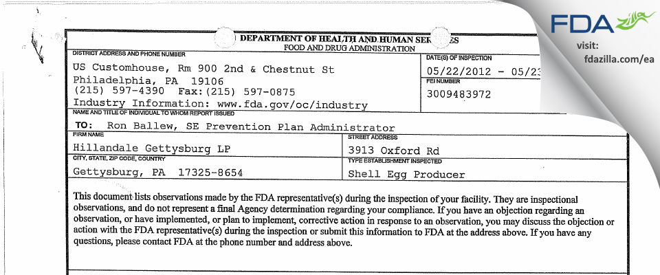 Hillandale Gettysburg, LP FDA inspection 483 May 2012