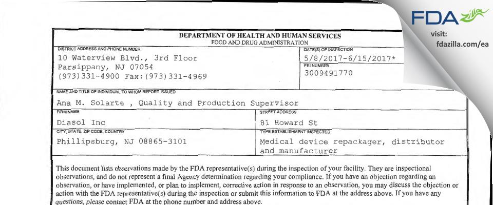 Diasol FDA inspection 483 Jun 2017