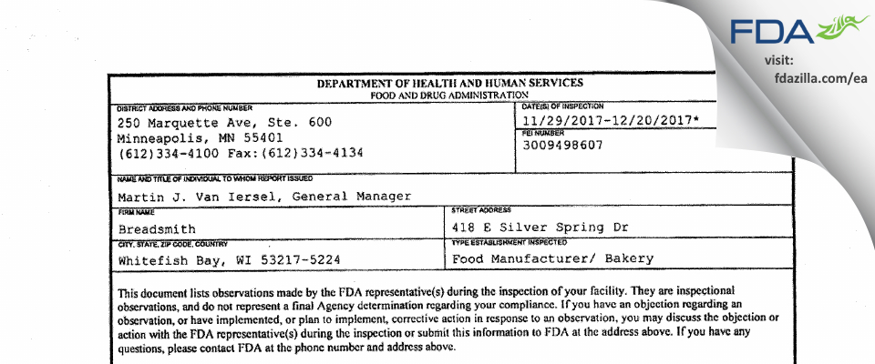 Breadsmith FDA inspection 483 Dec 2017