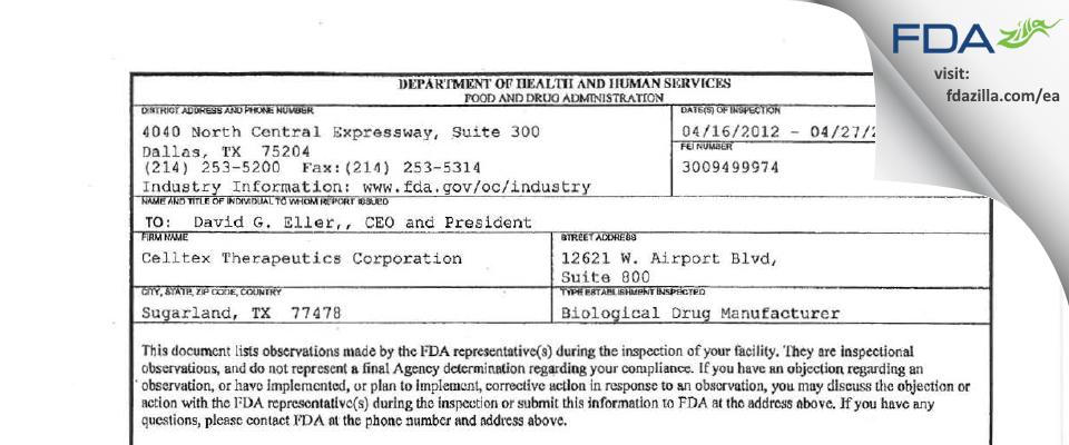 Celltex Therapeutics FDA inspection 483 Apr 2012