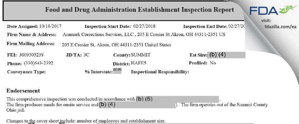 Aramark Correctional Services FDA inspection 483 Feb 2018