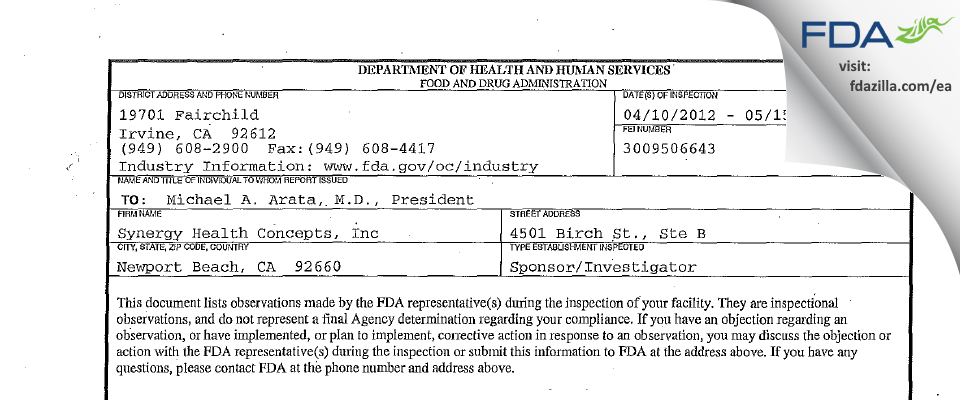 Synergy Health Concepts FDA inspection 483 May 2012