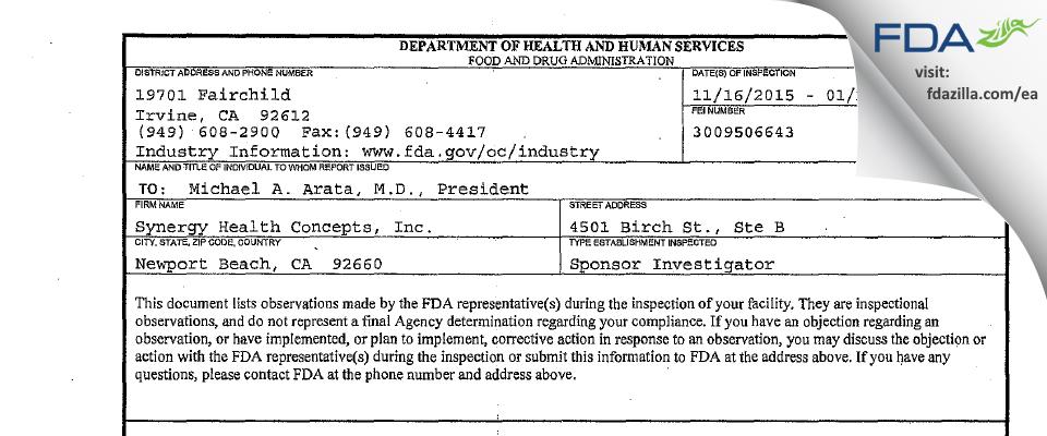 Synergy Health Concepts FDA inspection 483 Jan 2016