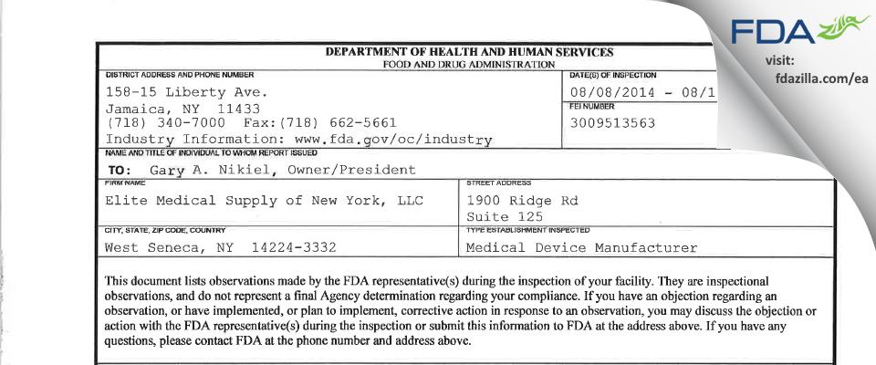 Elite Medical Supply of New York FDA inspection 483 Aug 2014