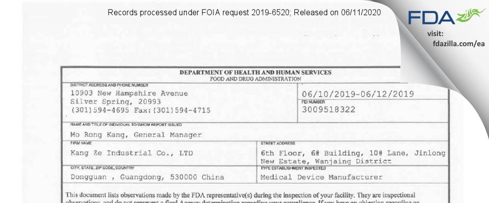 KANG ZE INDUSTRIAL CO. FDA inspection 483 Jun 2019