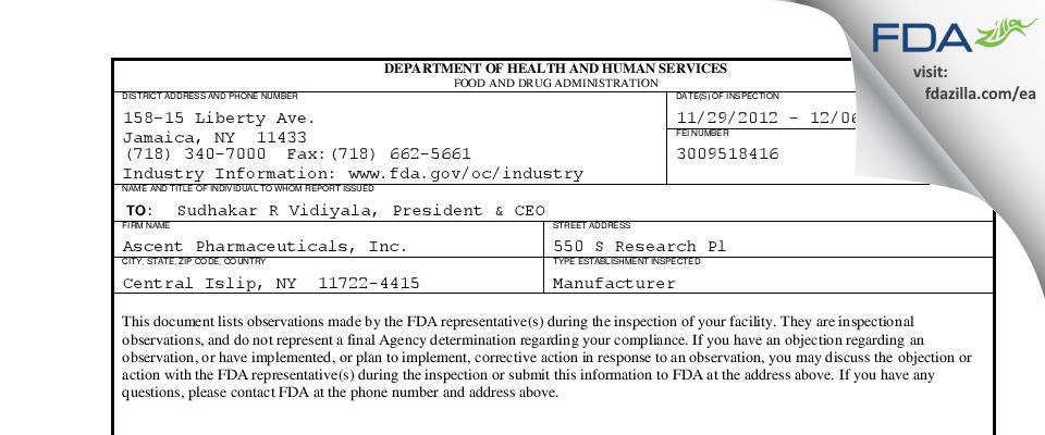 Ascent Pharmaceuticals FDA inspection 483 Dec 2012