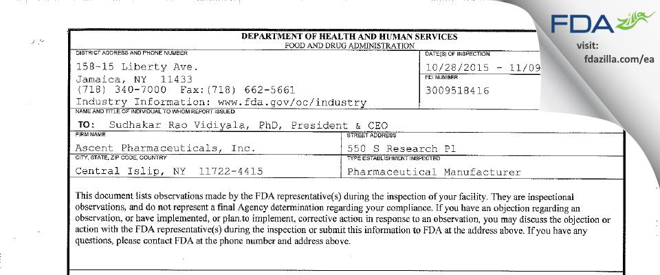 Ascent Pharmaceuticals FDA inspection 483 Nov 2015