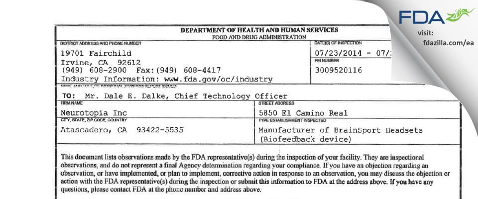 Neurotopia FDA inspection 483 Jul 2014