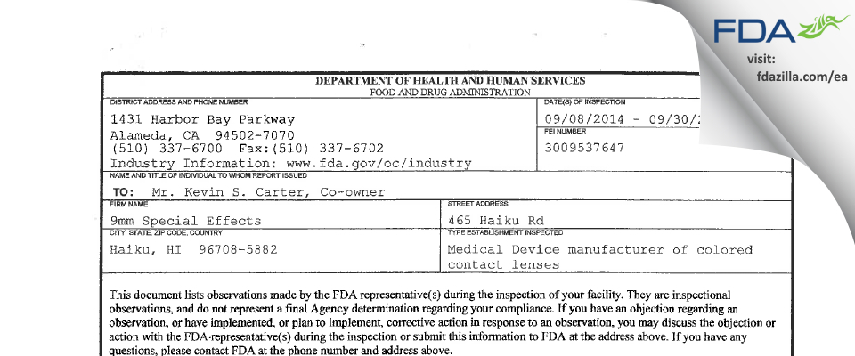 9mm Special Effects FDA inspection 483 Sep 2014