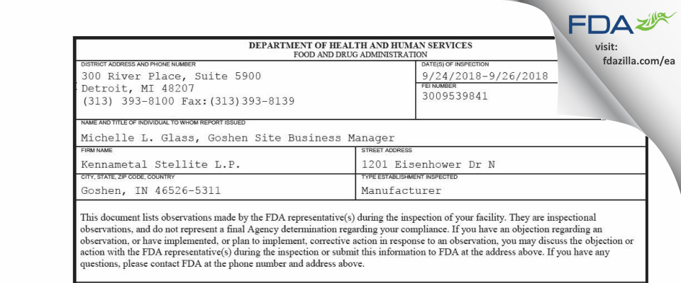 Kennametal Stellite L.P. FDA inspection 483 Sep 2018