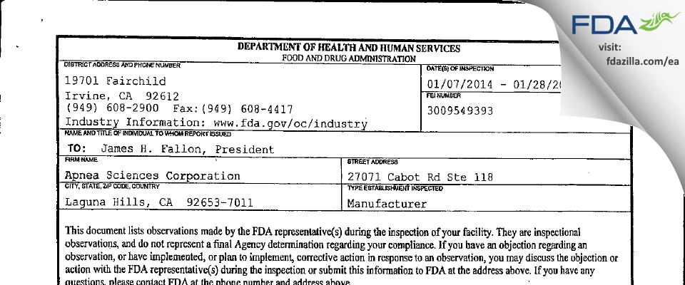 Apnea Sciences FDA inspection 483 Jan 2014