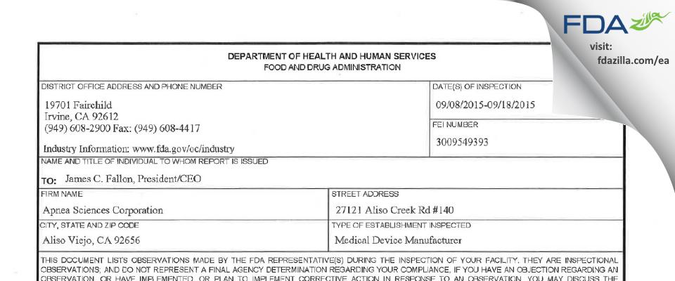Apnea Sciences FDA inspection 483 Sep 2015