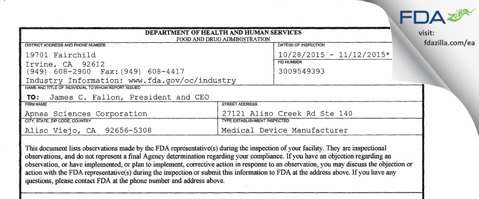 Apnea Sciences FDA inspection 483 Nov 2015
