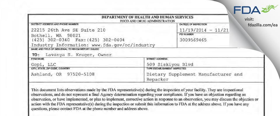Gopi FDA inspection 483 Nov 2014