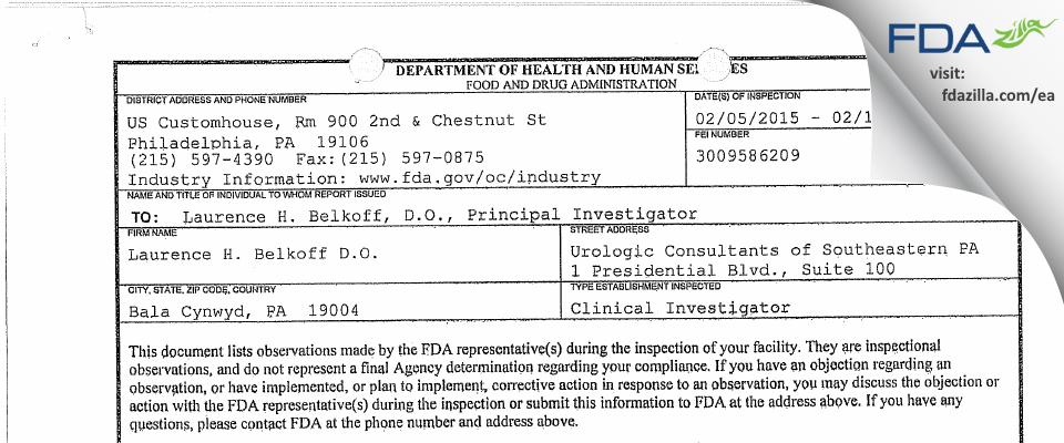Laurence H. Belkoff D.O. FDA inspection 483 Feb 2015
