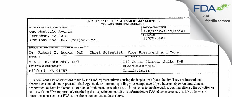 W & R Investments   d.b.a. Laser Engineering FDA inspection 483 Apr 2016