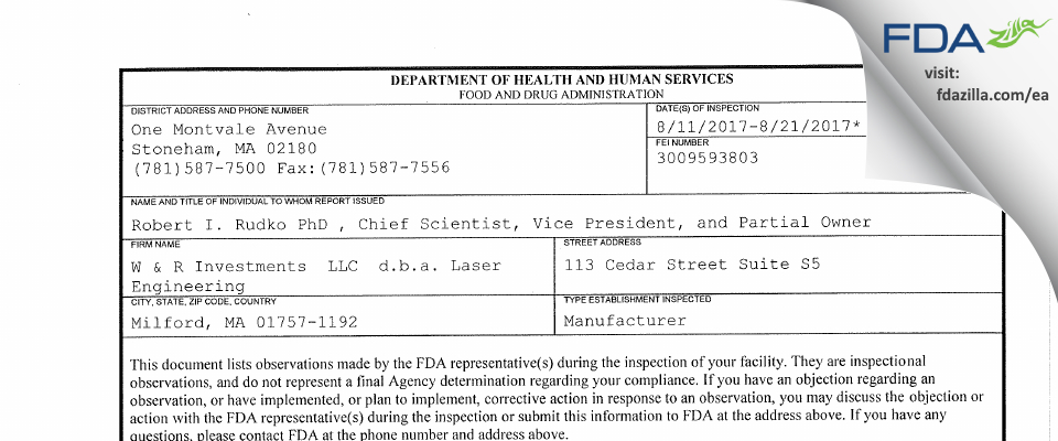 W & R Investments   d.b.a. Laser Engineering FDA inspection 483 Aug 2017
