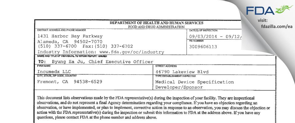 Incumedx FDA inspection 483 Sep 2014