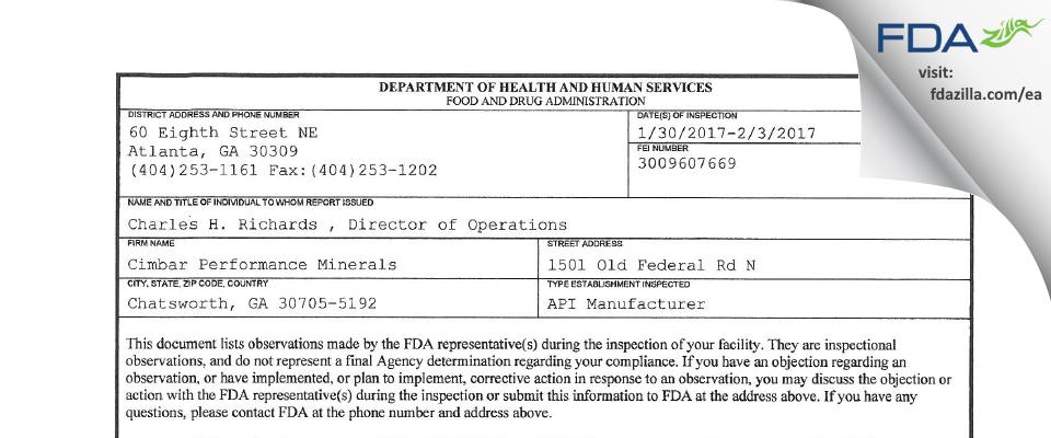 Cimbar Performance Minerals FDA inspection 483 Feb 2017