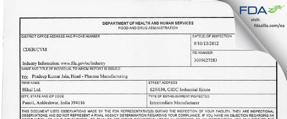 Hikal FDA inspection 483 Sep 2012