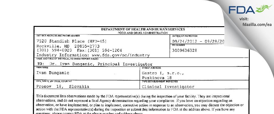 Ivan Bunganic FDA inspection 483 Sep 2012