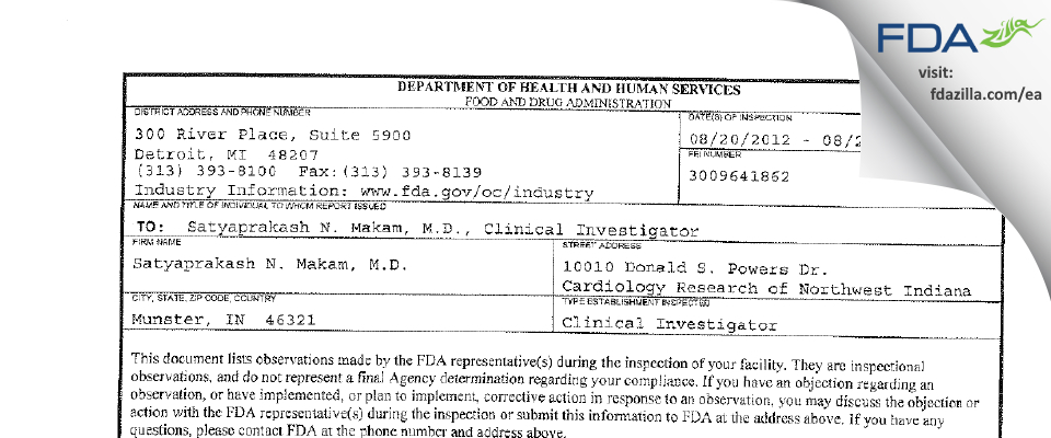 Satyaprakash N. Makam, MD FDA inspection 483 Aug 2012