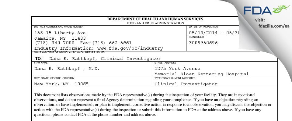 Dana E. Rathkopf , M.D. FDA inspection 483 May 2014