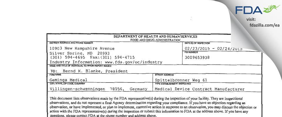 Geminga Medical FDA inspection 483 Feb 2015
