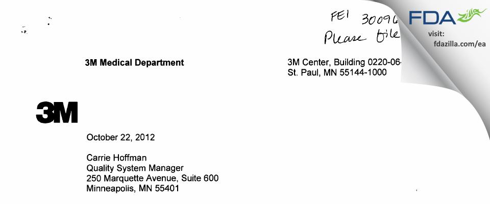 3M Company IRB FDA inspection 483 Oct 2012