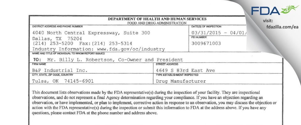 B & P Industrial FDA inspection 483 Apr 2015