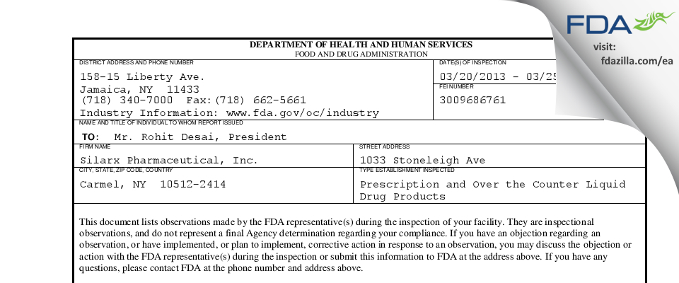 Lannett Company FDA inspection 483 Mar 2013