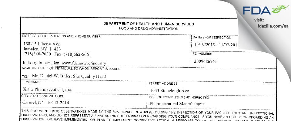 Lannett Company FDA inspection 483 Nov 2015