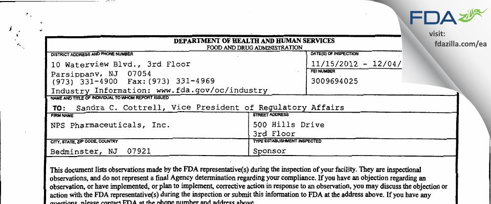 NPS Pharmaceuticals FDA inspection 483 Dec 2012