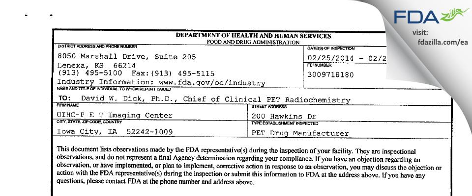 UIHC-P E T Imaging Center FDA inspection 483 Feb 2014