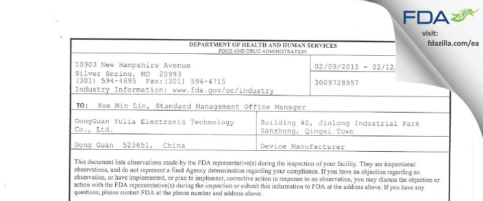 DongGuan Yulia Electronic Technology FDA inspection 483 Feb 2015