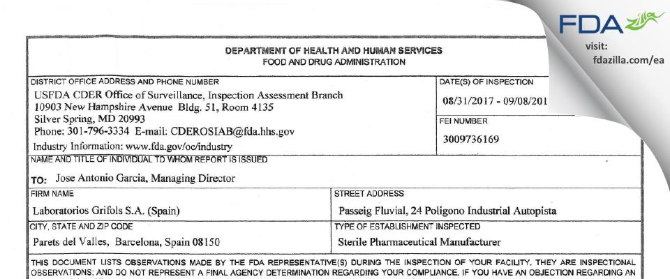 Laboratorios Grifols, FDA inspection 483 Sep 2017
