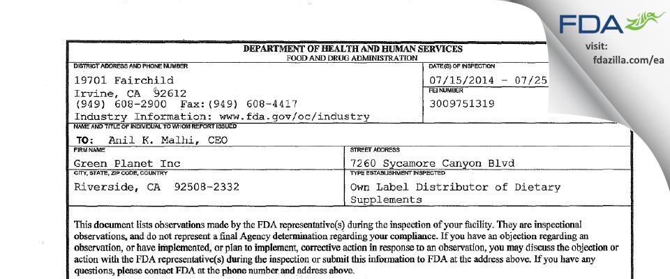 Green Planet FDA inspection 483 Jul 2014