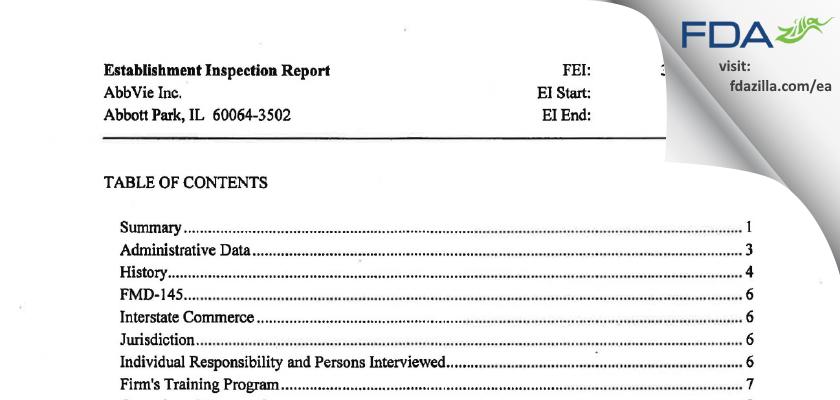 AbbVie FDA inspection 483 Sep 2014