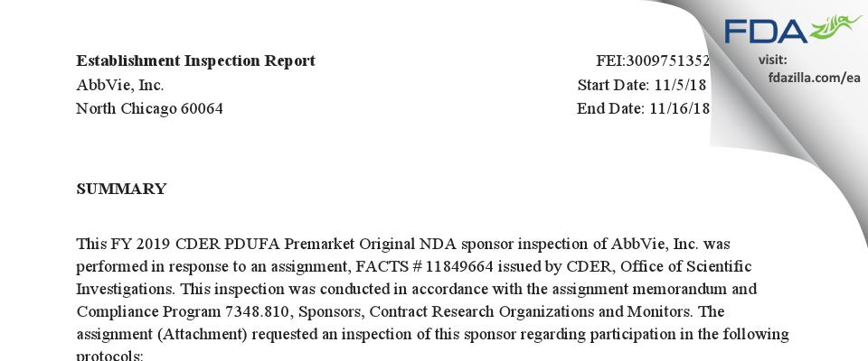AbbVie FDA inspection 483 Nov 2018
