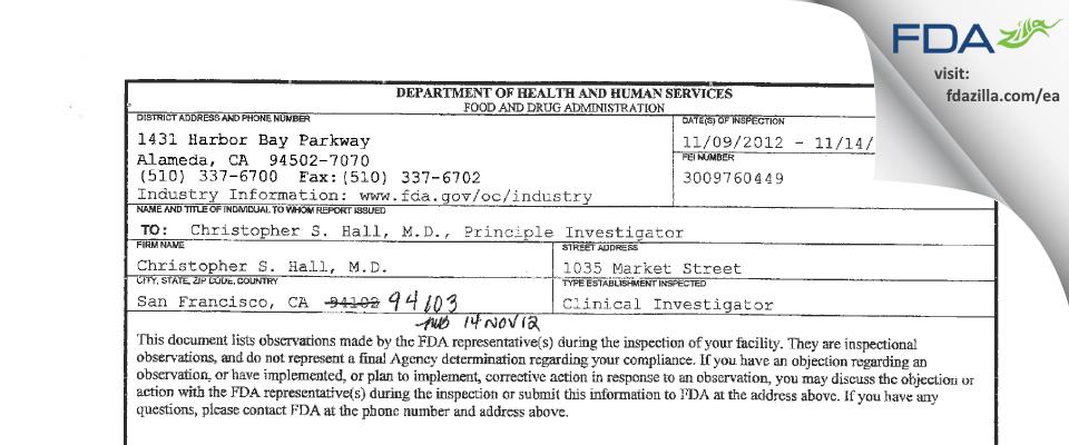Christopher S. Hall, M.D. FDA inspection 483 Nov 2012