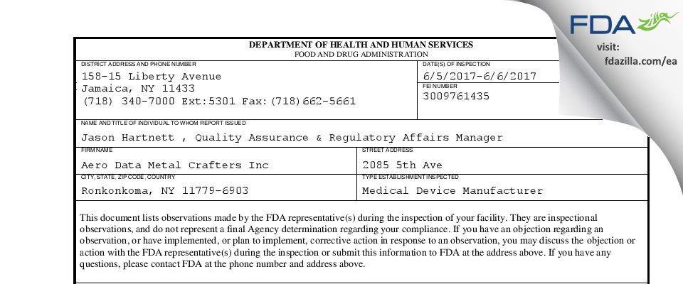 Aero Data Metal Crafters FDA inspection 483 Jun 2017
