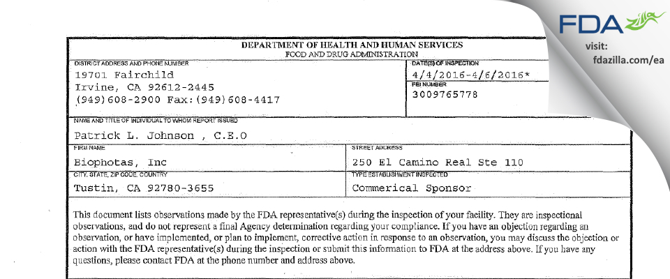 Biophotas FDA inspection 483 Apr 2016