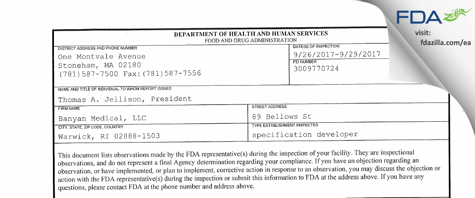 Banyan Medical FDA inspection 483 Sep 2017