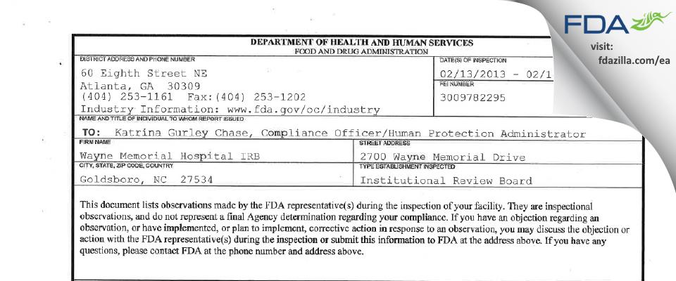 Wayne Memorial Hospital IRB FDA inspection 483 Feb 2013