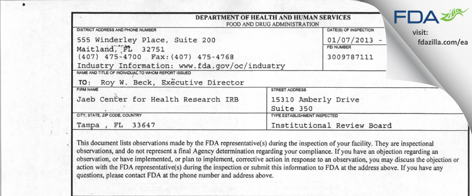 Jaeb Center for Health Research IRB FDA inspection 483 Jan 2013