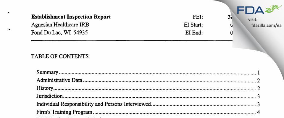 Agnesian Healthcare IRB FDA inspection 483 Jun 2014