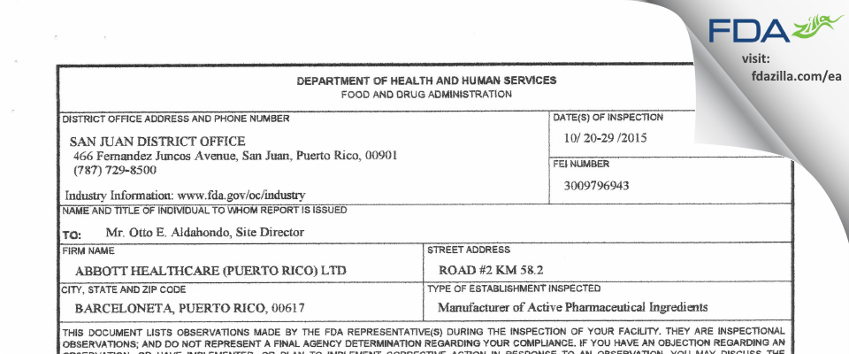 Abbott Healthcare (Puerto Rico) FDA inspection 483 Oct 2015
